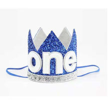 Bebé recién nacido bebé chica chico de la mitad de 1 2 segundo corona de  cumpleaños torta Smash diadema sombreros de fiesta 03b7394e149