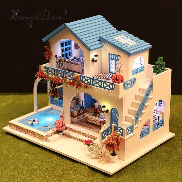 Us 3809 27 Off124 Scale Diy Handcraft Miniature Project Kit Wooden Dolls House Model Sidi Bou Said Town Home Display Collectibles In Doll Houses