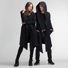 Зимняя куртка унисекс, длинная куртка с капюшоном, накидка, кардиган, куртка с капюшоном для женщин и мужчин, черное пальто, manteau femme hiver