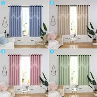 2pcs Hollow Notes Windows Blackout Curtains with Mesh Yarn Window Drapes