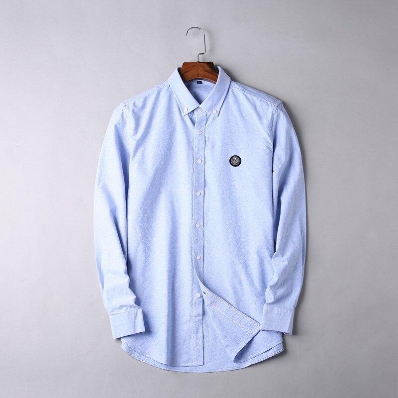 2019 nouveau 8XL 7XL 6XL 5XL grande taille haute qualité hommes chemise à manches longues Twill solide formelle chemise d'affaires marque homme chemises habillées - 4