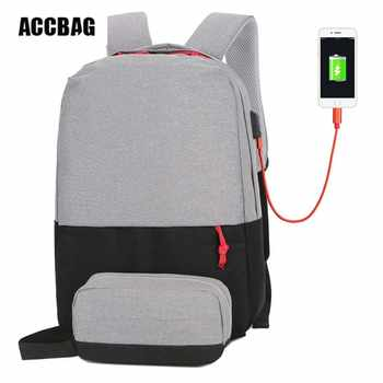 "External USB Charge Backpack Travel School Bag For Teenagers Casual 15.6"" Laptop Fashion Bag Rechargeable Holder For Bottle - Category 🛒 Luggage & Bags"