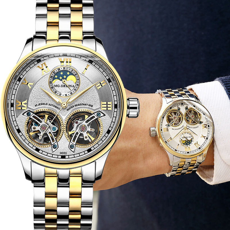 MG ORKINA Stainless Steel Double Tourbillon Watch Automatic Watch Men Mechanical Waterproof Moon Phase Gold Silver