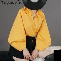 TVVOVVIN 2019 New Puff Full Sleeve Retro Shirt Female's Folower Pleated Turn Down Collar Blouse Hot Sale Vestido Tops AS392
