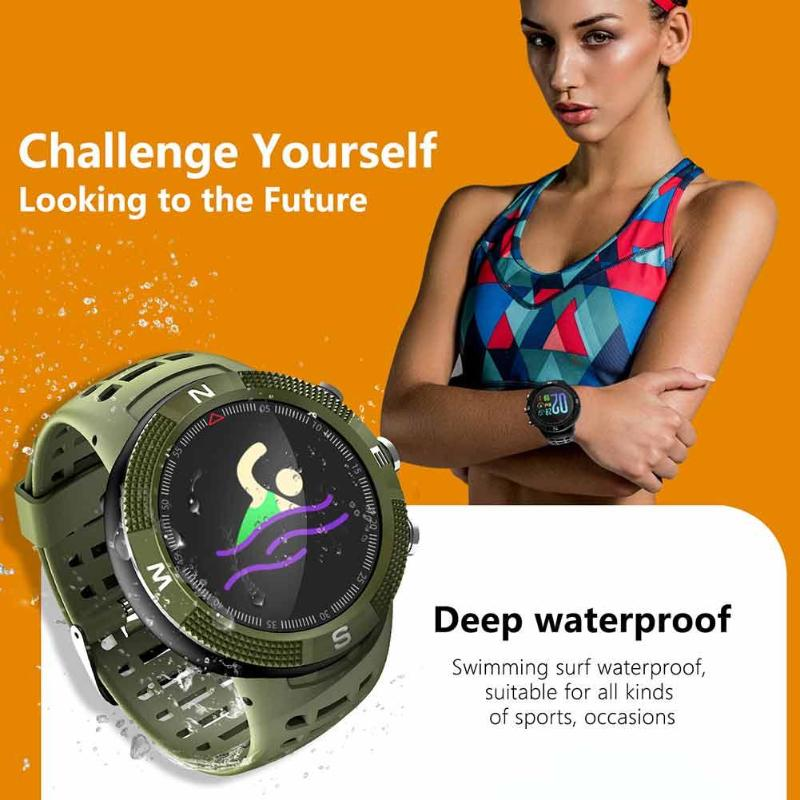 Swimming IP68 Waterproof F18 3D GPS Sports Smartwatch Call Message Reminder Heart Rate Monitor Smart Watch