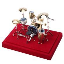 절묘한 미니 골드 도금 드럼 세트 모델 키트 인형 집 홈 룸 데스크 테이블 디스플레이 장식 선물