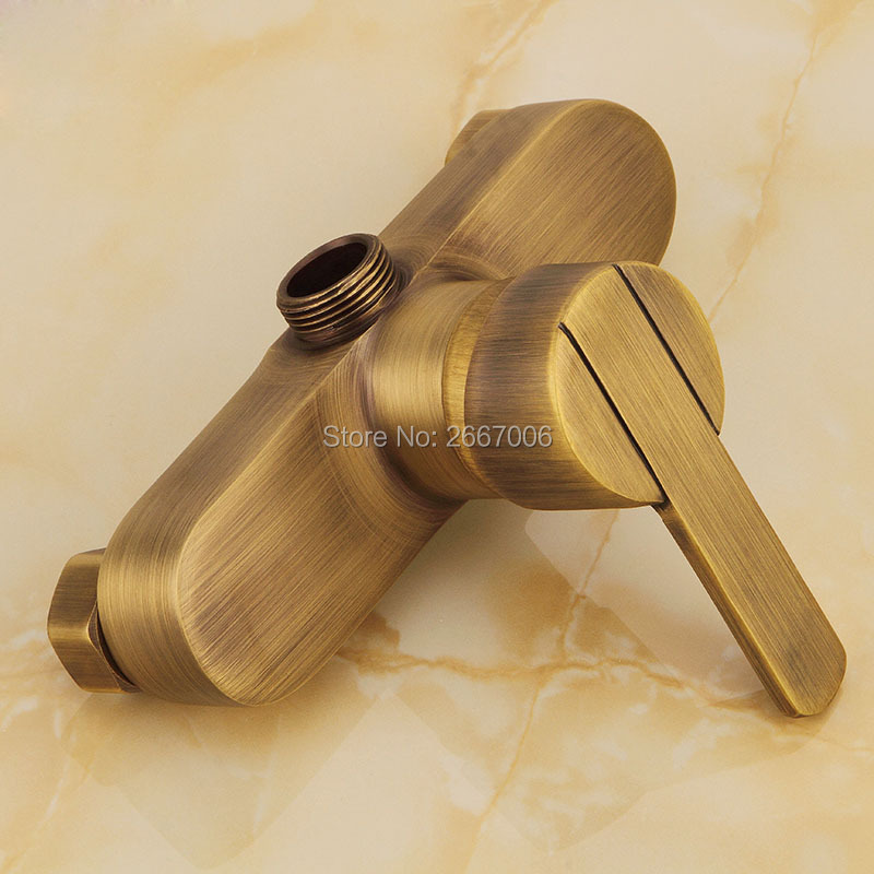 Antique Brass Shower Faucet Wall Mount Tap Bathroom Hot Cold Mixer Replacement Accessories 3 4 Connect