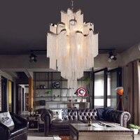 лестница инженерная лампа роскошный дизайн цепь кисточка подвеска лампа алюминиевая цепь Tassel подвеска свет современный творческий свет