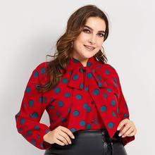 9fecb5ddcea Women Blouses Casual Red Sweet OL Plus Size Loose Lantern Sleeve Polka Dots  Print Bowknot Female Fall Elegant Tops Hot Shirts