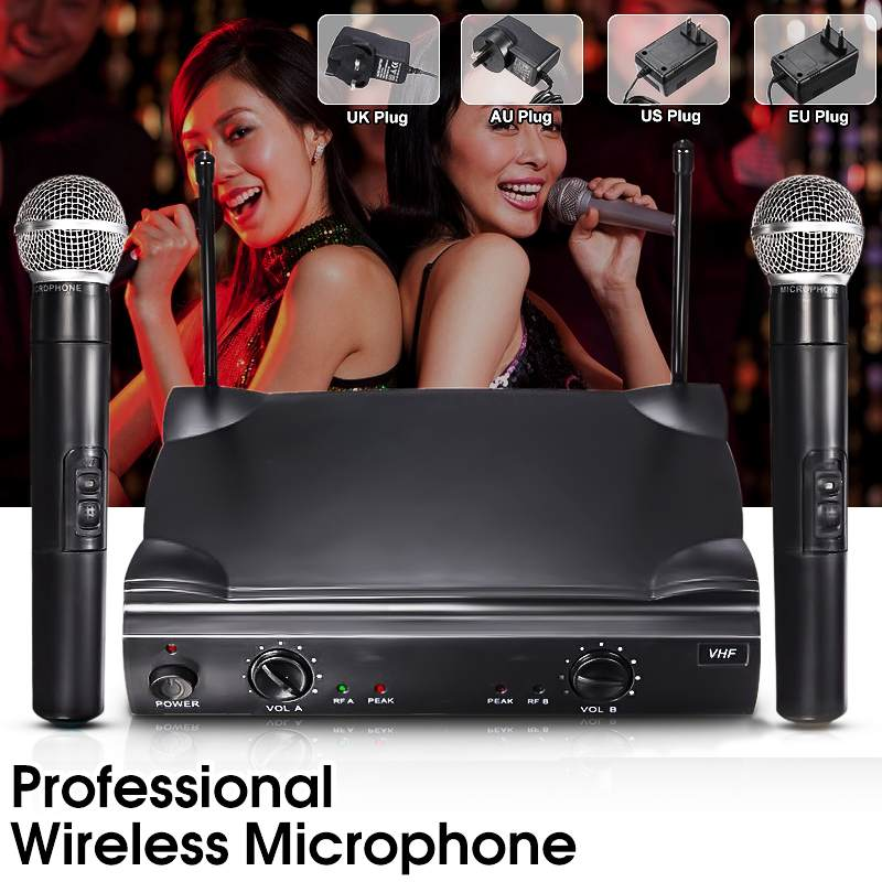 цена на Dual VHF Professional Handheld Wireless Microphone Mic System with Receiver For Studio Home Kareoke KTV Party Supplies Speakers