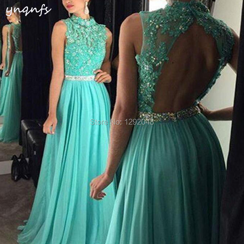 YNQNFS ED198 Chiffon High Neck Open Back Lace Appliques Crystal Turquoise   Prom     Dresses   Long 2019