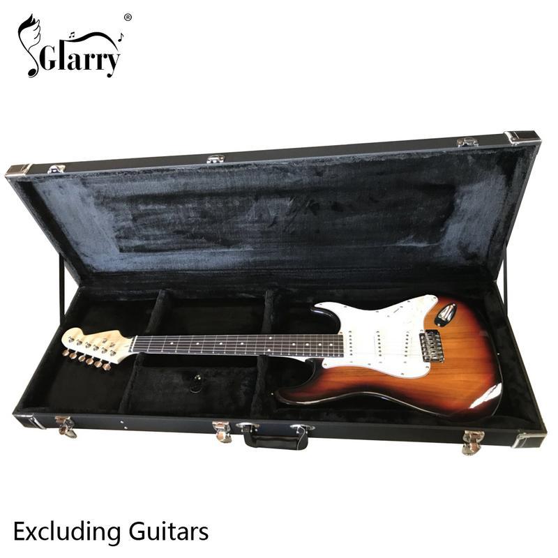 Glarry ST High Grade Electric Guitar Square Hard Case Microgroove Flat Black