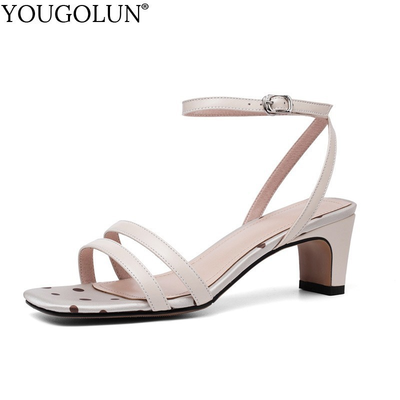 Cow Leather High Heel Sandals Women Summer Ankle Strap Lady Hoof Heels Sandal A214 Sexy Woman
