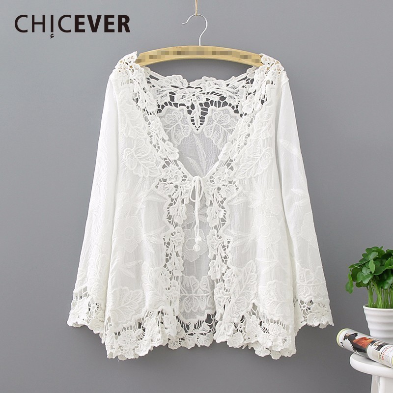 CHICEVER 2020 Spring Lace Knitted Women T Shirts Top Long Sleeve Cardigan Lace Up Loose Female T Shirt Clothes Fashion Korean