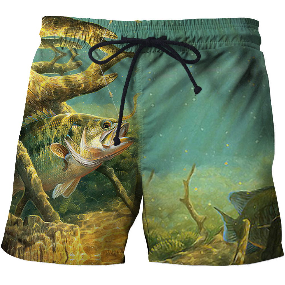 2018 Brand Quick Drying Board Shorts Trunks Full Fishing 3D Printed Funny Men Beach short Bermuda MasculinaDe Swimming Shorts