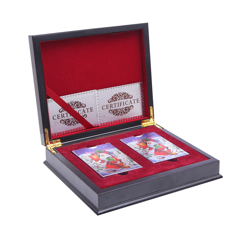 Gift Wooden Box With 2Sets Plastic Playing Cards Waterproof Durable Cards Game Plastic Poker Cards Pokerstars Gift Cards Box