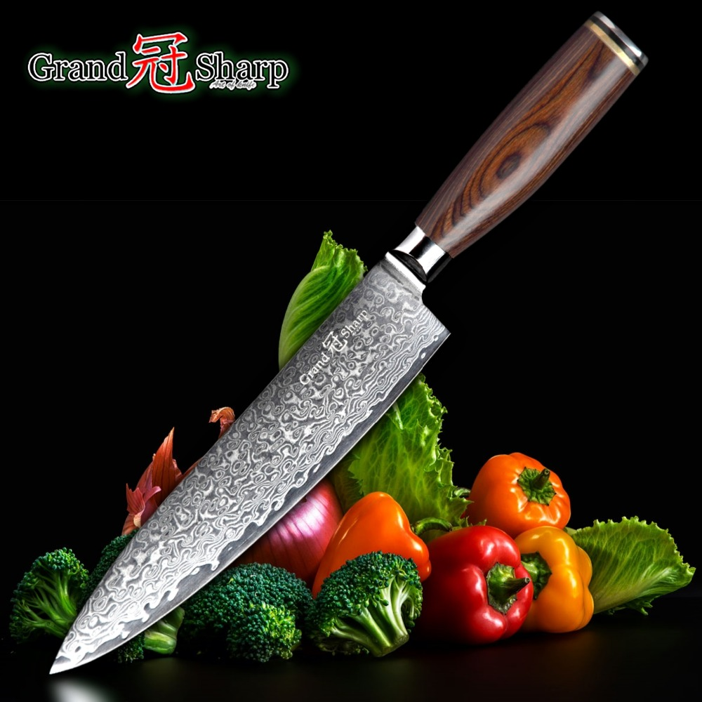 GRANDSHARP 67 Layers Japanese Damascus Knife Damascus Chef Knife 8 Inch VG 10 Blade Japanese Kitchen