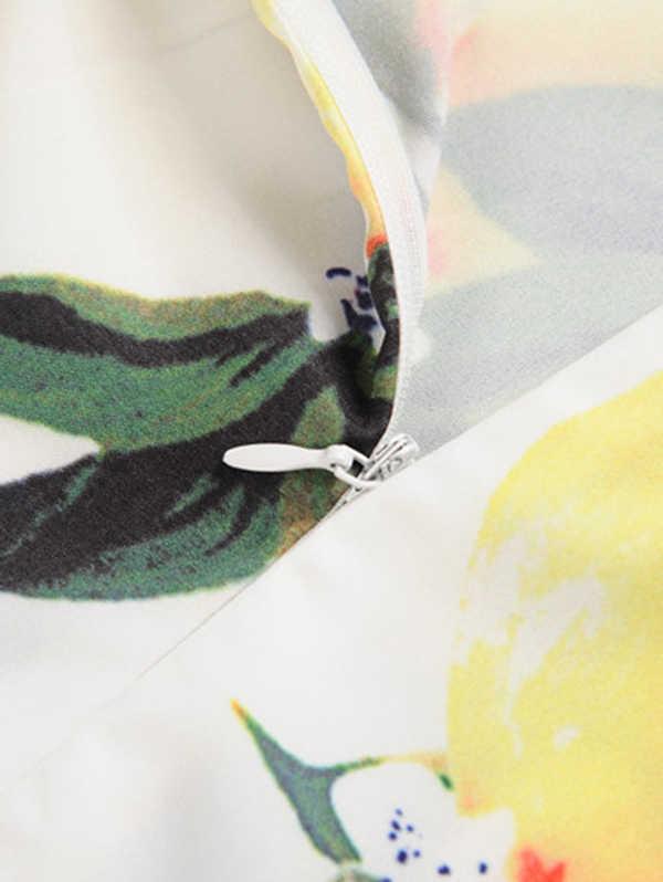 Sovalro Lemon Cetak Pin Up Musim Panas Gaun Wanita Vintage Gaun Pinggang Tinggi Belted Swing Gaun Pesta Hepburn Tunik Vestido