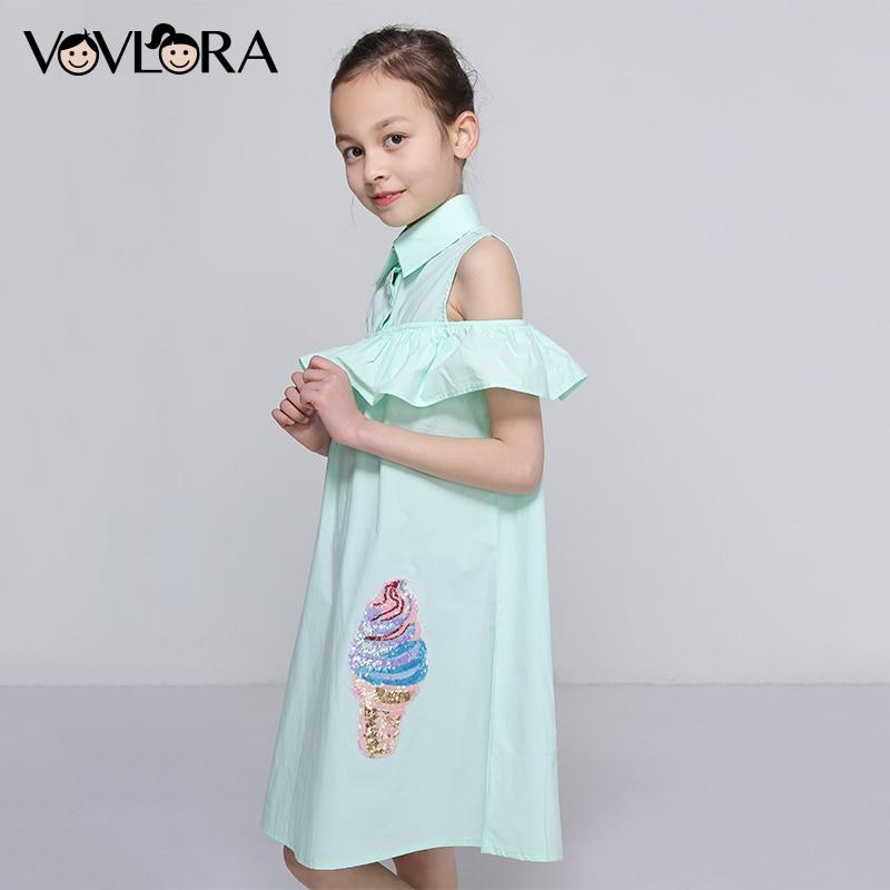Kids Ruffles Dress Shoulder Cotton Sleeveless Girls Summer Dress Woven Sequins Children Clothes 2018 Size 7 8 9 10 11 12 Years цена