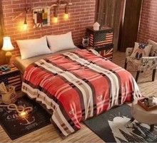 Cartoon Stripe Flannel Throw Blanket Small Super Soft Warm Plush Coral Fleece Bed Cover Bedspread Bedding Large Plush Plaid