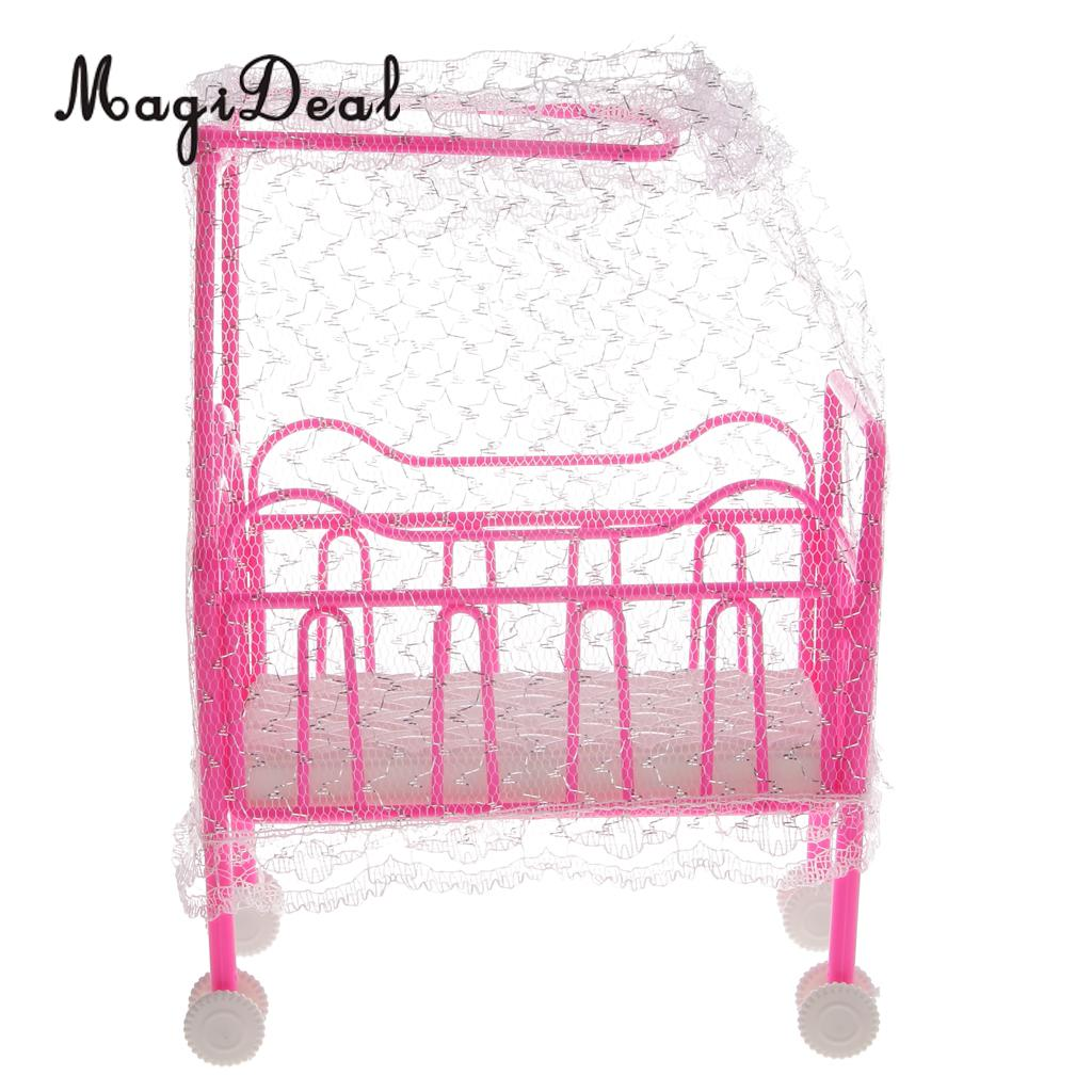 MagiDeal 1Pc Plastic Cot Bed With Bed Net Dollhouse Furniture Accs For Dolls Children Kids Pretend Play Toy