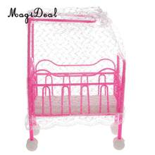 MagiDeal 1Pc Plastic Cot Bed with Bed Net Dollhouse Furniture Accs for Dolls Children Kids Pretend Play Toy(China)