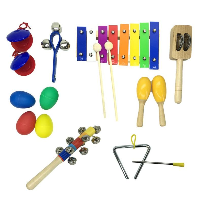 10pcs Percussion Instruments Set Xylophone Hammer Kids Musical Toys Music Teaching Tools Teaching Resources Dropshipping