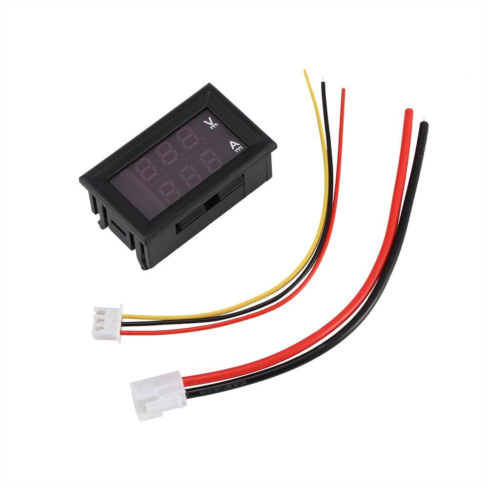 Mini 100V 10A Car Digital Voltmeter Detector Voltmeter Ammeter Blue + Red LED Amp Dual Volt Meter Gauge