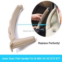 Left/Right Inner Door Panel Handle Pull Black Car Interior Door Handles trim Cover For BM W X5 X6 2007 2013 E70 E71