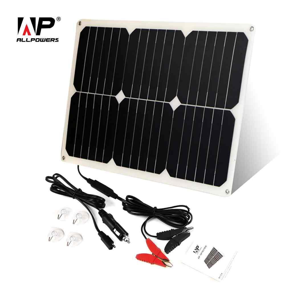 ALLPOWERS Solaire chargeur de batterie De Voiture 12 V 18 W Portable Solaire chargeur de voiture pour 12 V Batterie De Voiture Automobile Moto Bateau