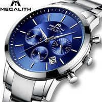 MEGALITH, новинка, модные мужские часы, мужские кварцевые часы, водонепроницаемые, спортивные, с хронографом, наручные часы, Лидирующий бренд, ро...