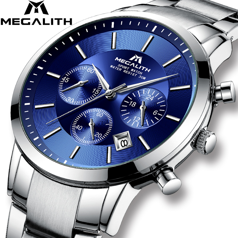 MEGALITH New Fashion Mens Watch Men Quartz Watches Waterproof Sport Chronograph Wristwatches Top Brand Luxury Gents ClockMEGALITH New Fashion Mens Watch Men Quartz Watches Waterproof Sport Chronograph Wristwatches Top Brand Luxury Gents Clock