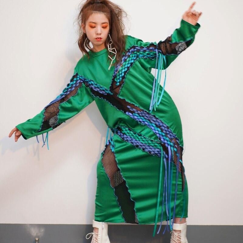 Europe Longues Mode Irrégulière Femmes Féminine Printemps Manches 2019 Green Nouveau Robe Perspective Vêtements Superaen Couture À dxvwdqR