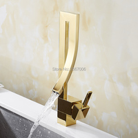 GIZERO Luxury Golden Chrome Brushed Waterfall Basin Faucet Tap Deck Mounted Brass Hot Cold Bathroom Mixer Faucet Hotel ZR656G