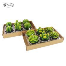 12PCS/set Home Decor Cactus Candle Table Tea Light Garden Mini Wax Green Candles For Wedding Birthday Decoration