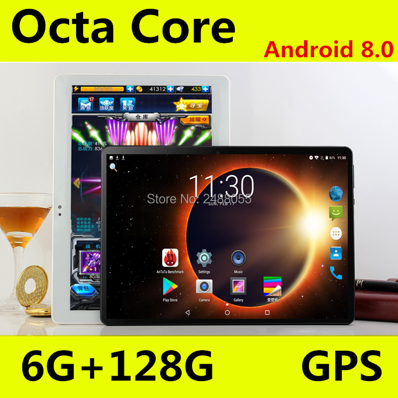 10 Inch Tablet Support Youtube Octa Core 6GB RAM 128GB ROM 3G 4G FDD LTE Phone Call Android 8.0 Tablet GPS WIFI 1280X800 IPS Pad
