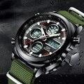 Модные часы MEGALITH для мужчин  светодиодные цифровые военные спортивные часы  водонепроницаемые  с ремешком из нейлона зеленого цвета  с буди...