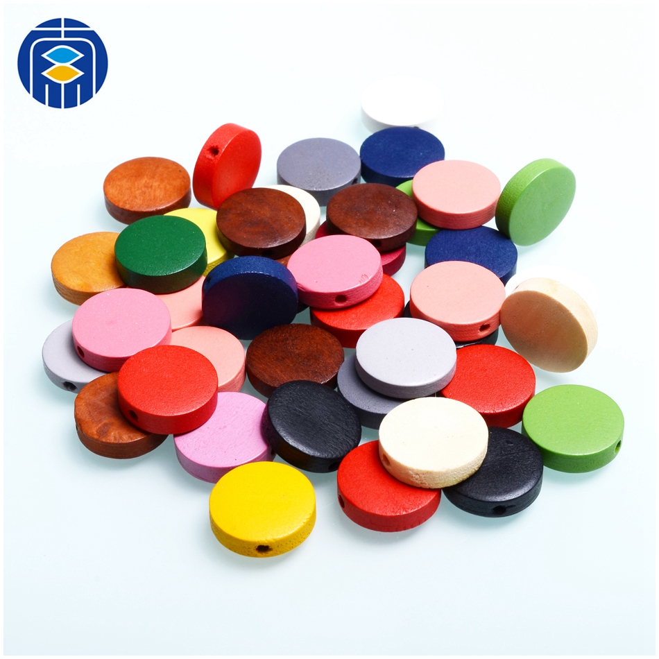 JuleeCrystal Beads 15mm Round Colorful Wooden Beads Children's Handmade Puzzle Circle Beads For Kids Toys Jewelry DIY