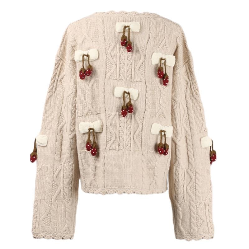 Donne Maglione Fragola Abbigliamento 2019 A Lavorato Femminile Maglia Cardigan Primavera Elegante Delle Appliques Albicocca Pista Streetwear HwPBIX