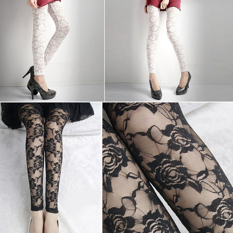 New Women's Sexy Hollow-out Close-fitting Lace Rose Pants Skinny Pants   Leggings
