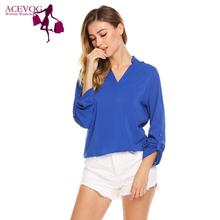 2fe3467c717b10 ACEVOG Women Blouse Blusas V-Neck Roll Up Long Sleeve Criss Cross Cut Out  Shoulder
