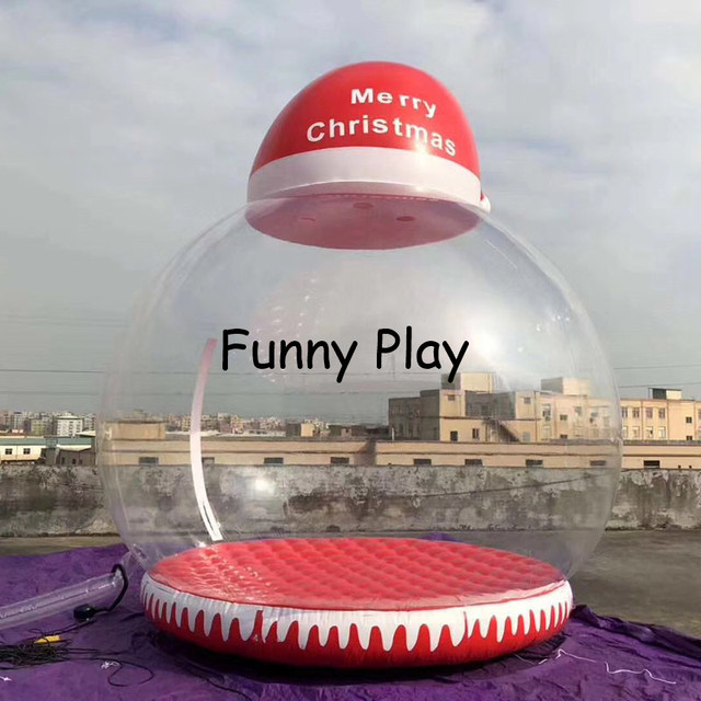 Christmas Hat Transparent.Us 981 0 10 Off Inflatable Snow Ball With Santa Hat Xmas Inflatable Transparent Globe For Photo Booth Christmas Hat Transparent Tent In Tents From