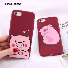 USLION Cartoon Funny Pig Phone Case For iPhone 6 7 8 Plus X XR XS Max Lovely Cases For iPhone 6 6S Plus Soft TPU Silicon Cover цена и фото