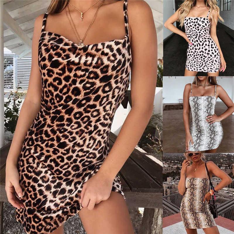 Lampart i Serpiente Print letnia sukienka Sexy płaszcza bez rękawów kobiet Slim Fit kobiety sukienka Cocktail Party plaża seksowna sukienka Sundress