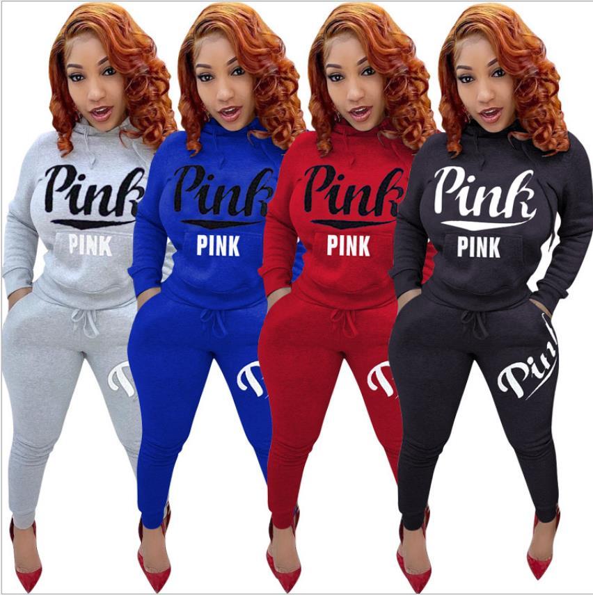 XXXL Pink Logo Tracksuit Hoodie Long Sleeve W//Pants Plus Size Women/'s