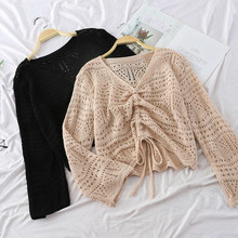 New Fashion Women Casual V Neck Thin Hollow Out Knitted Sweater Jumper Tops Long Sleeve Loose Solid Color Pullover Sweater