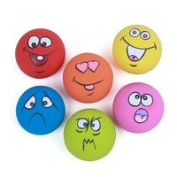 6 PCS Zanies Latex Children Kids Dog Puppy Play Squeaky Ball with Face Fetch Toy Bright Noise Maker