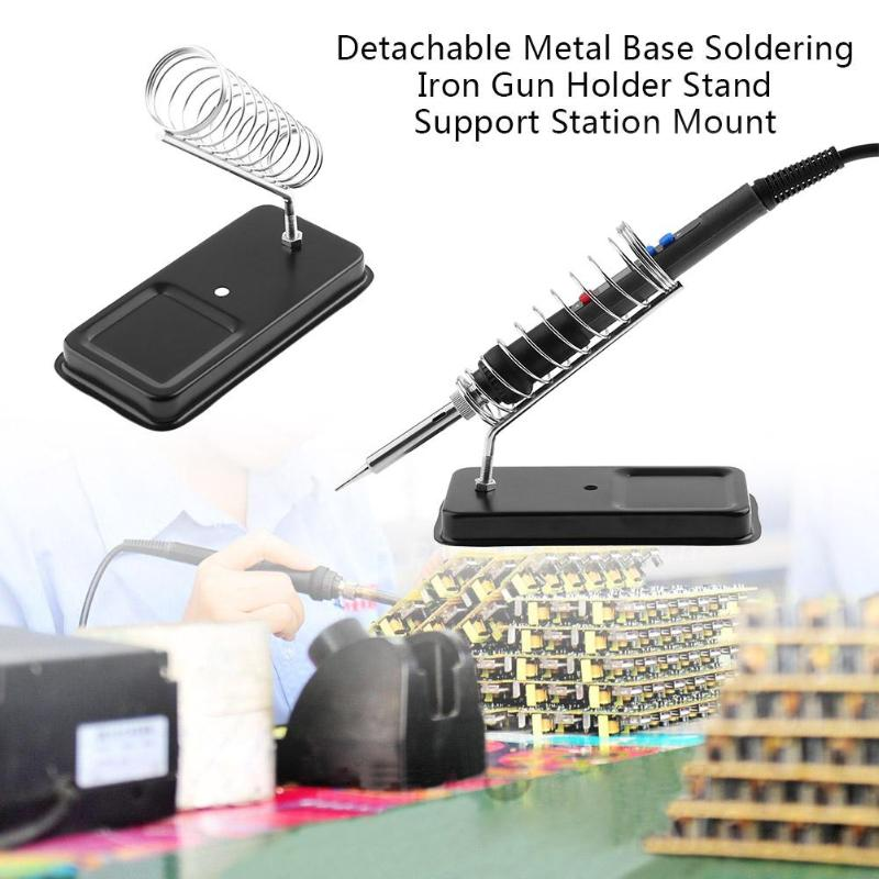 Double Metal Base Soldering Iron Gun Mount Bracket Holder Stand Support Station Sponge Cast Iron Repair Tool 13*12.5*6.7cm