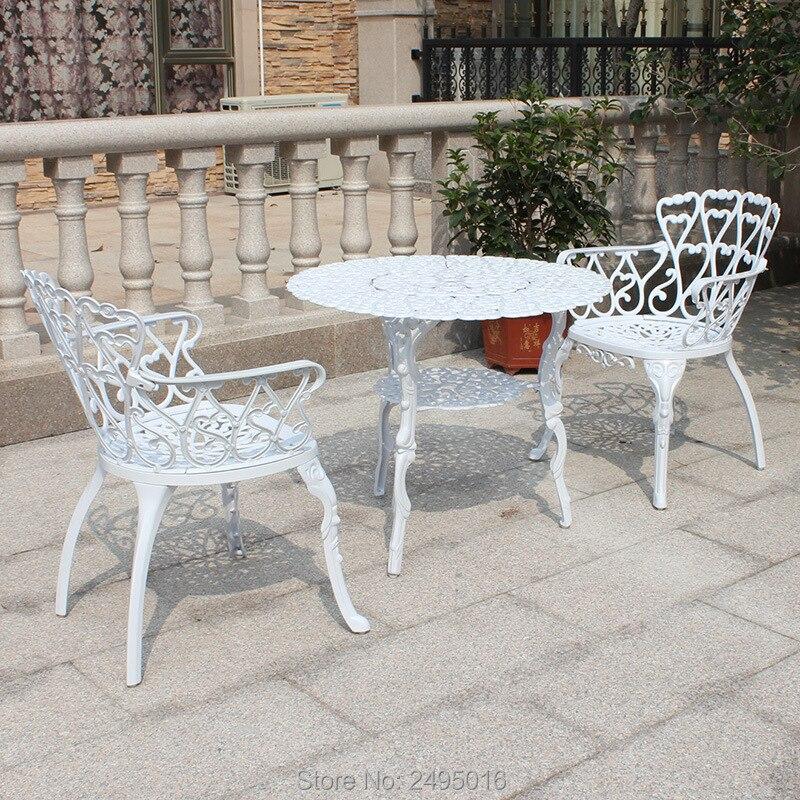 € 274.76  Ensemble de 3 pièces en aluminium moulé patio Bistro mobilier  d\'extérieur ensemble de salle à manger pour balcon, porche, jardin  (blanc)-in ...