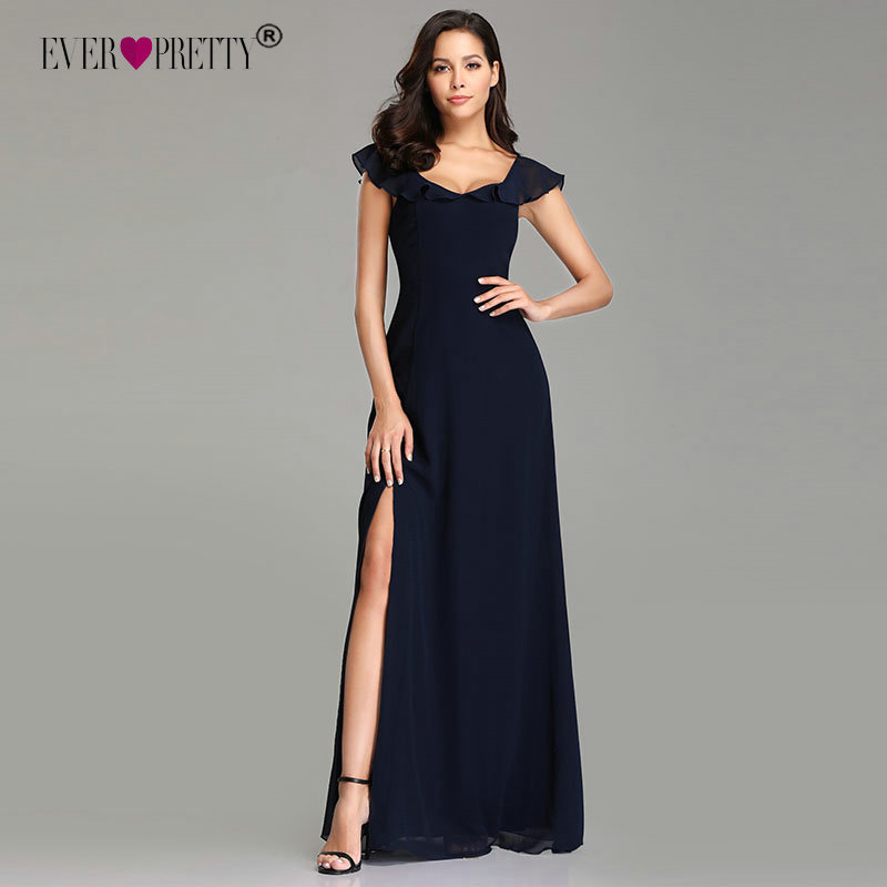 Elegant   Bridesmaid     Dresses   Long Ever Pretty A-Line V-Neck Chiffon Formal   Dresses   Wedding Party   Dresses   Vestido de Festa Longo